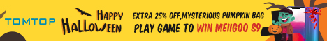 Happy Halloween :  extra 25% off on tomtop.com