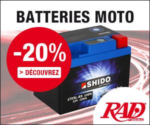 20% de remise sur batteries pour motos