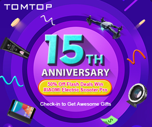 Tomtop 15TH Anniversary : 50% Off Flash Deal !!