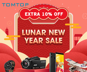 Tomtop : 2019 Lunar New Year Sale, Extra 10% Off !