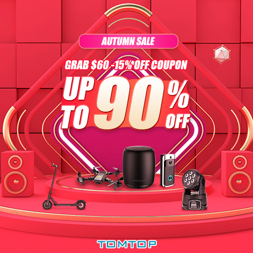 TOMTOP Autumn Special Offer : up to 90% off