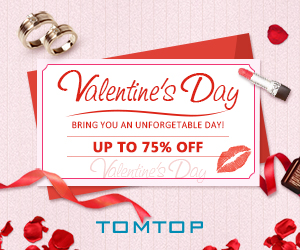 Grab 2019 Valentine's Day gift, Up To 75% Off on Tomtop.Com