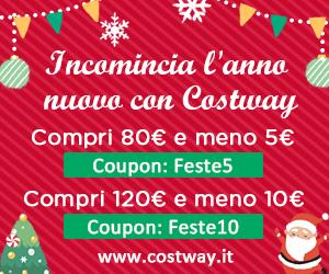 Costway preparti il codice sconto, 80€-5€ Coupon: Feste5; 120€-10€ Coupon: Feste10