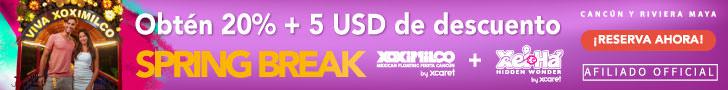 20 % + $5 USD de descuento en paquetes de dos parques Xcaret