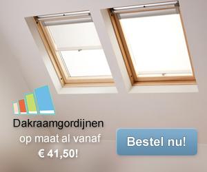 Klik hier voor de korting bij Dakraamgordijnen.nl