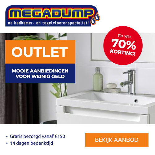 Megadump de badkamer en tegelvloerspecialist tot 70% korting in de outlet