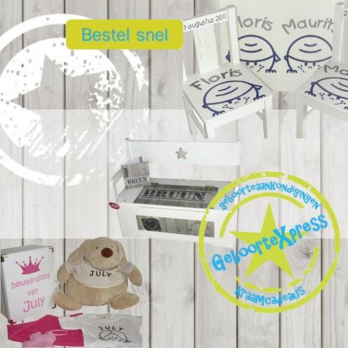 Kraamcadeaus met naam en geboorteaankondigingen