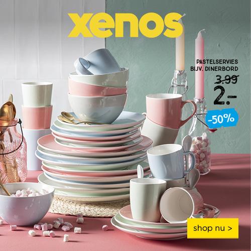 pastelservies 50%korting bij Xenos