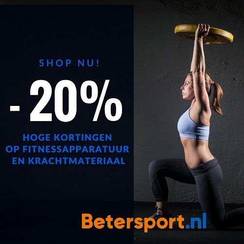 20% korting op geselecteerde fitnessapparatuur en krachtmaterialen