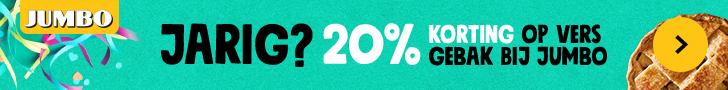 Bij Jumbo.com krijgt iedereen met zijn verjaardag 20% korting op gebak