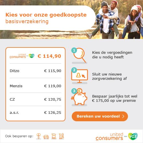 Zorgverzekering met maximale korting: E 114,85 /mnd | Een van de goedkoopste verzekeringen van NL!
