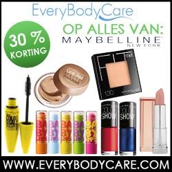 Nu 30% Korting op het Maybelline assortiment bij EveryBodyCare.com!
