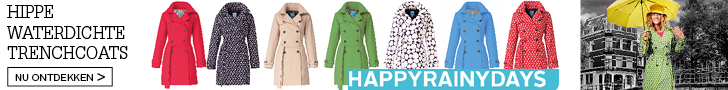 Hippe waterdichte trenchcoats. HappyRainyDays' zomer collectie 2015.