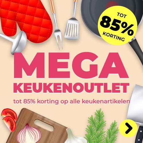 Mega keukenoutlet tot 85% korting op alle keukenartikelen