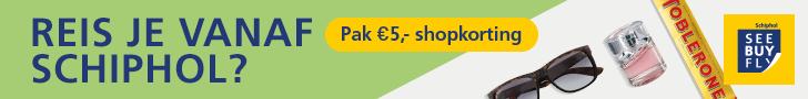 Reis je vanaf Schiphol? Pak 5 euro shopkorting!