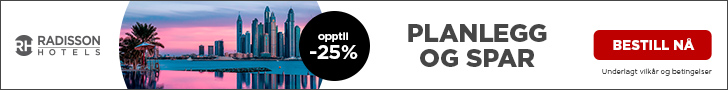 Spar opptil 20 % på opphold mellom 10. juni og 31. august i Europa, Midtøsten og Afrika. Bestill innen 1. mars.